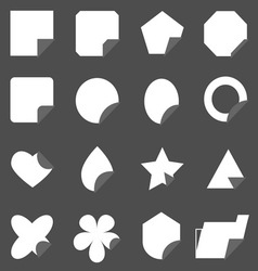 Set of corner lebel gray color icons vector image