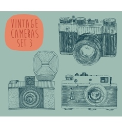 Set of Vintage Retro Old Camera Hand Drawn vector image vector image