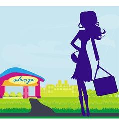 Shopping woman silhouette vector