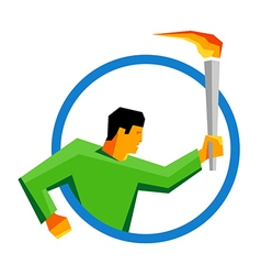 Summer sport games athlete torch bearer in a ring vector image vector image