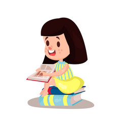 Sweet brunette girl reading a book sitting on a vector