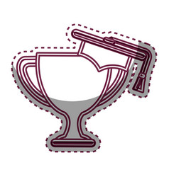 Trophy cup with hat graduation award isolated icon vector