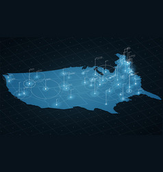 usa map big data visualization vector image