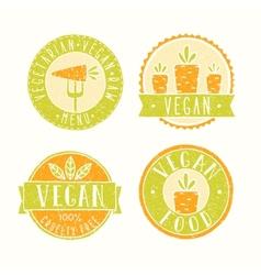 Vegan food badges vector