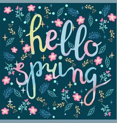 watercolor hand drawn hello spring greeting card vector image