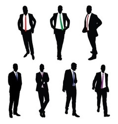 A collection of 7 businessman silhouettes vector
