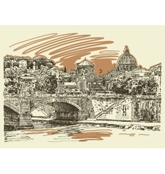 Original sketch drawing rome italy cityscape type vector