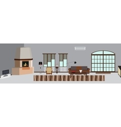 The room furnished with furniture modern flat vector