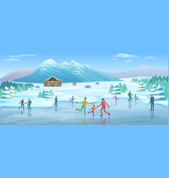 Mountain winter recreation template vector