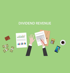 dividend revenue with a man signing vector image