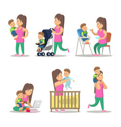 Happy mother and son cartoons motherhood vector