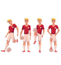 Set of soccer football player in different vector