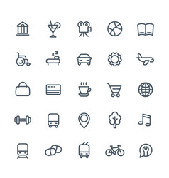 Line icons set for maps or navigation apps vector