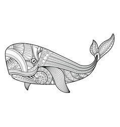 whale in zentangle style vector image