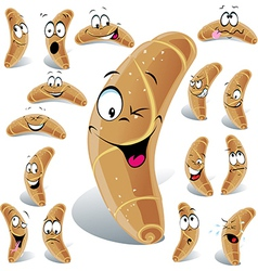 Pastry roll cartoon with many expressions vector