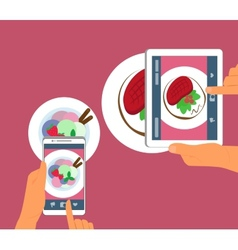 Man and woman are photographing their food in vector