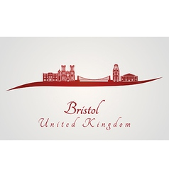 Bristol skyline in red vector