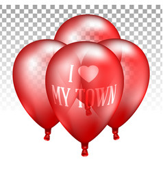 3d realistic red transparent balloon vector