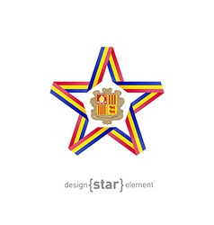 Star with andorra flag colors and symbols design vector