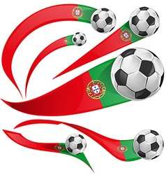 Portugal flag set with soccer ball vector image