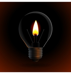 Lightbulb with fire candle on dark background vector