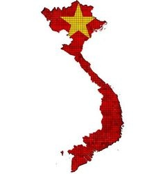 Vietnam map with flag inside vector