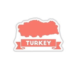 Paper sticker on white background turkey map vector