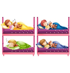 Four children sleeping in bunkbed vector image