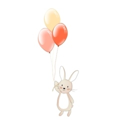 Cute bunny with balloons fly rabbit vector