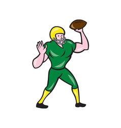 American football qb throwing retro vector