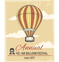 Annual festival of ballooning retro poster vector