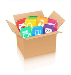 Apps in cardboard box vector image vector image