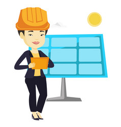 Asian worker of solar power plant vector