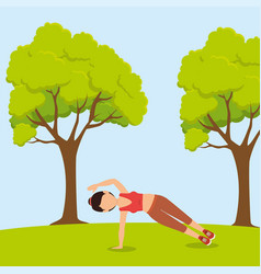 Athlete female working out character vector