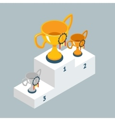 Award trophy cups on winners podium vector image