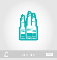 Beer bottle outline icon summer vacation vector