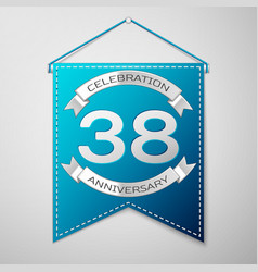 blue pennant with inscription thirty eight years vector image vector image