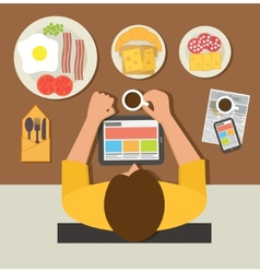 Breakfast time office man reading news on tablet vector