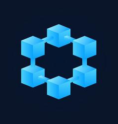 bright blue block chain icon blockchain vector image