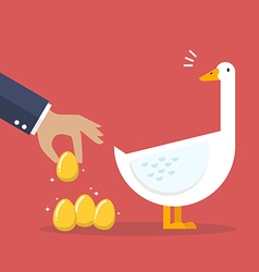 Businessman with white goose and golden egg vector