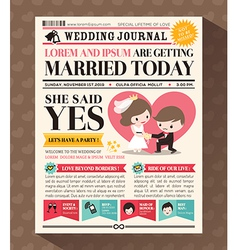 Cartoon newspaper journal wedding invitation vector