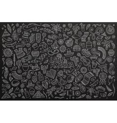 Chalkboard hand drawn doodle latin american vector
