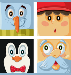 christmas cartoon characters set vector image vector image