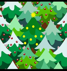 Christmas theme pine tree forest close seamless vector image