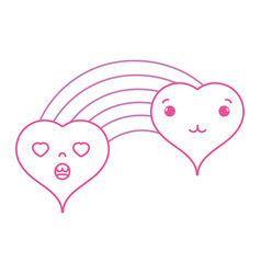 Color line tender and in love hearts clouds kawaii vector