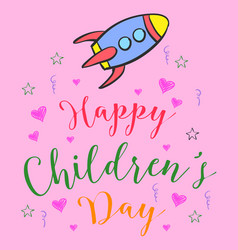 Colorful childrens day doodle style vector