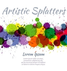 Colorful watercolor paint stains abstract art vector image