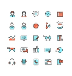 Customer service call center flat icons vector image vector image