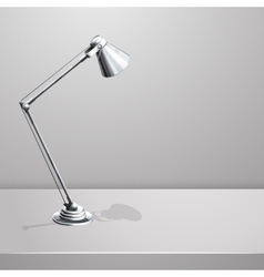 Desk lamp on table white empty background vector