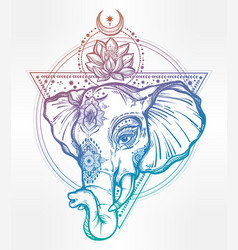 Elephant with lotus and sacred geometry vector
